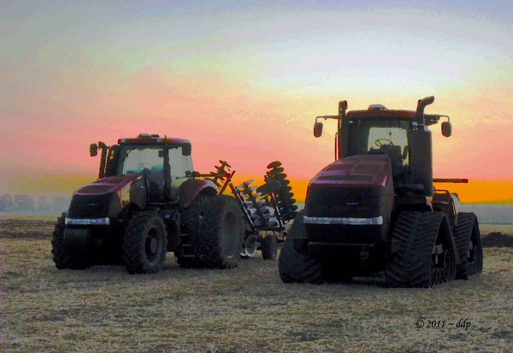 Two Very Large CASE IH Farm Tractors with Equipment at Sunrise this Morning (Painterly Techniques on my Photo)