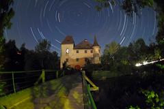Moated castle under northern stars (herbraab) Tags: sky castle night fisheye astronomy ursamajor twan meteor startrails bigdipper polaris peleng8mmf35 perseid polestar ursaminor canoneos550d kematenanderkrems