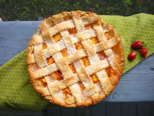Lattice-top Peach Pie whole