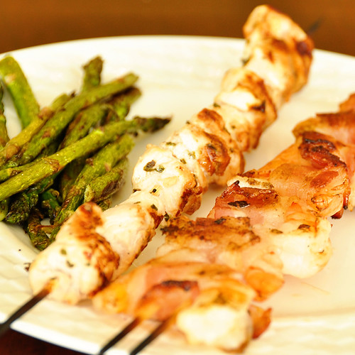 shrimp and chicken skewers