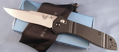 "Benchmade 710 McHenry & Williams 3.90"" Satin Finish D2 Steel Plain Edge Blade"