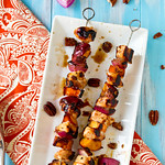 Honey-Glazed Chicken, Peach, and Sweet Potato Skewers
