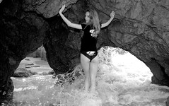 Beautiful Redhead Swimsuit Bikini Model Goddess (45SURF Hero's Odyssey Mythology Landscapes & Godde) Tags: california hot beach beautiful beauty sand pretty surf cloudy tide models redhead socal swimsuits bikinis 45surf