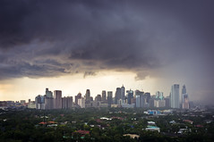 Different Faces of Makati - Downpour 3/3 (Benson Kua) Tags: city sky weather clouds buildings high different faces metro philippines finepix manila fujifilm makati rise glub taguig x100 dscf4563