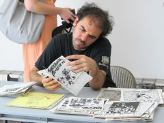 Checking out vintage punk/metal zines (fotoflow / Oscar Arriola) Tags: show music usa chicago zine art public rock metal america square typography book design us illinois movement midwest punk artist pittsburgh designer pennsylvania united group hard archive documentary books exhibition il hardcore american 80s edge storefront document photocopy states magazines straight logan thrash collectors archival 1980s 1990s 90s xerox core collective zines the booklets photocopied thestorefront