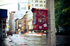 Mailbox ([Naro]) Tags: street nyc red newyork trafficlights mailbox manhattan empty streetphotography before irene