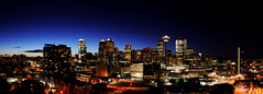 Calgary Twilight Panorama (Witty nickname) Tags: blue roof sunset sky panorama calgary rooftop skyline architecture buildings twilight skies dusk pano wide bluesky panoramic architectural tokina alberta bow nikkor bankershall calgarytower eap thebow calgaryskyline encana nikond90 blueskyline tokina1116mmf28 wideanglecalgary calgarytwilightpanorama