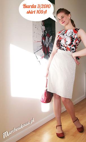 marchewkowa, szafiarka, szycie, krawiectwo, spódnica z żakardu, burda 3/2010, model 105 A, Piegatex, 60s, retro, vintage