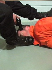 Cop bootlick 4 (TBTAOTW2011) Tags: black men leather boot worship uniform shine boots domination police polish lick cop academy abuse prisoner dominant humiliation bootlick