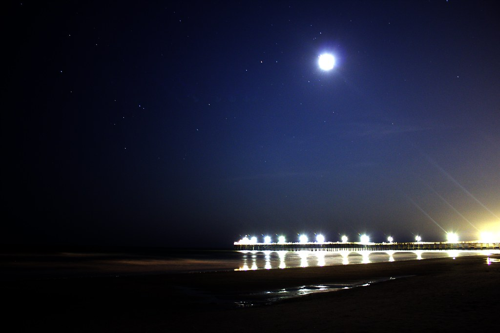 cherry grove pier at night