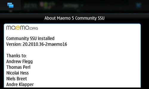 About Maemo5 CSSU Ver.20.2010.36-2maemo16