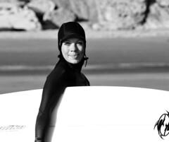 6068.2 Surfer Woman B&W (eyepiphany) Tags: oregon surf surfing wetsuit oregonbeaches summerlife oregonsurfing oregontourism womansurfer manzanitta smuglerscove tappingthesource bestplacestosurf bestplacestosurfinoregon oregonbeachtowns manzanittaoregon