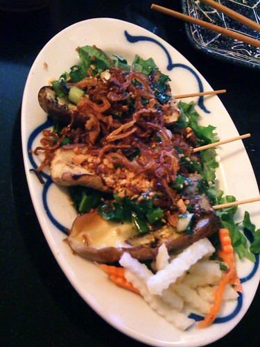 The lemongrass grilled eggplant with fried onions at Green Leaf is equally good.  I love that they pickle crispy jicama instead of daikon. Nice touch! in Seattle, WA by Melody Gourmet Fury