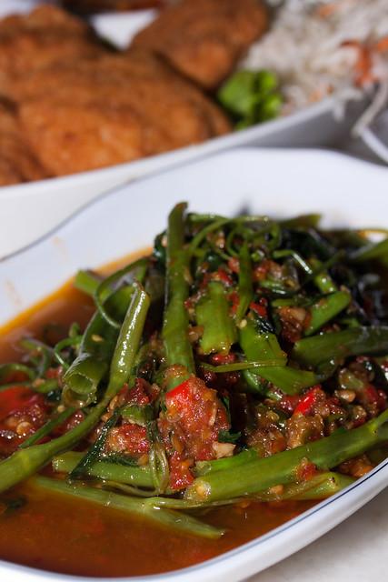 Stir-Fried Kangkong with Sambal Belachan @ $8