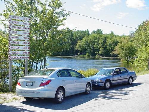 Older Honda meets newer Honda in Norway, Maine