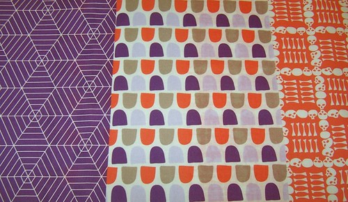 Halloween Fabrics in Purple and Peach