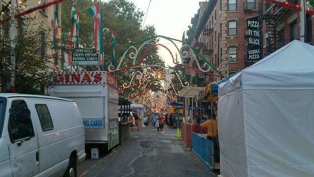 Prepping Mulberry Street for the San Genarro Festival
