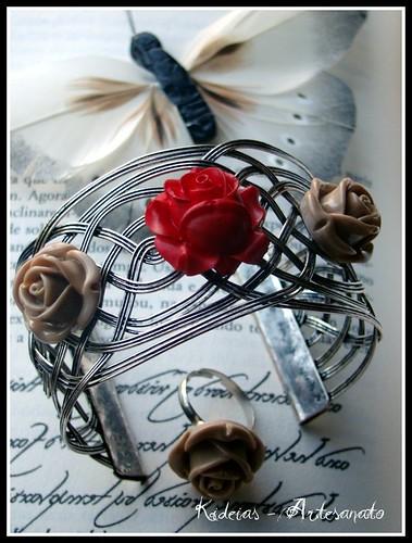 ♥ Anel e Pulseira 3 rosas ♥ by kideias - Artesanato