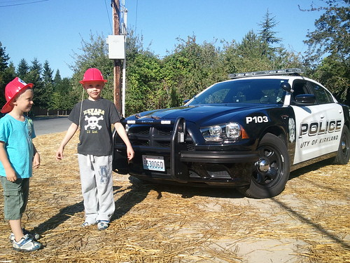 September 10, 2011 after my 911 fire call the local Kirkland police came up the hill to impress the boys with the Dodge Charger (standard car for our local polices)..