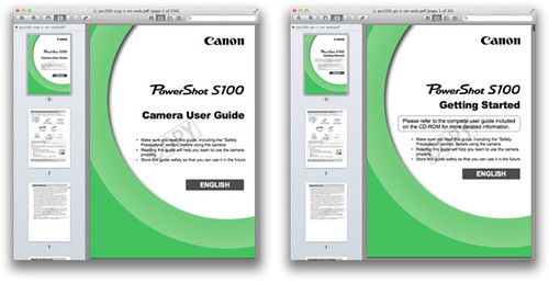 Canon S100 Manuals