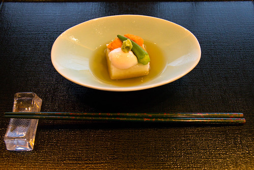 Nagayimo tofu with quail egg, sea urchin roe, and okra
