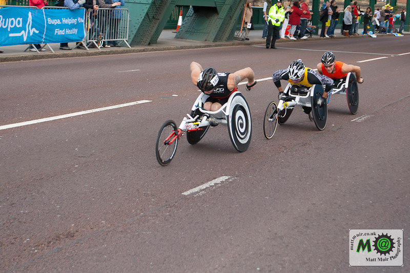 Eventual Winner Josh Cassidy leads the wheelchair race over the Tyne Bridge