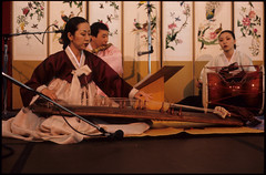 Musicians at P'ansori Performance, Seattle (Washington State Folk Arts) Tags: flutes musicalinstruments storytellers narrators verbalartsandliterature kayagums koreanpansoriperformers changgos