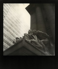 monument (davebias) Tags: nyc statue polaroid sx70 downtown nationalmuseumoftheamericanindian impossible