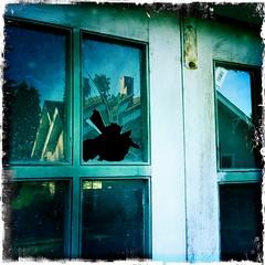 Well Hit Ball, Deep To Right Field Garage Door Window (clappstar) Tags: broken window ball break baseball oops johnslens hipstamatic kodotxgrizzledfilm