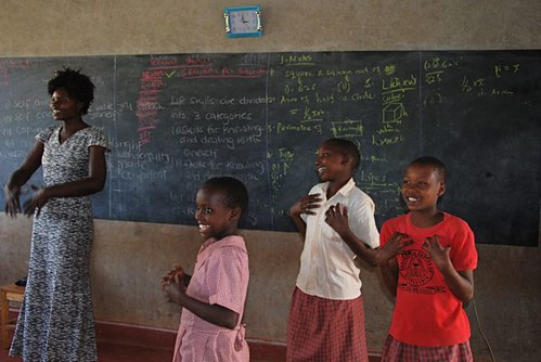 """Music that empowers: Learning a song about how to protect ourselves and """"our private parts,"""" a critical lesson for empowering young Maasai girls."""
