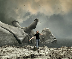 don't wake the rhino (Mattijn) Tags: beach surreal rhino photomontage pino mattijn dierenparkamersfoort