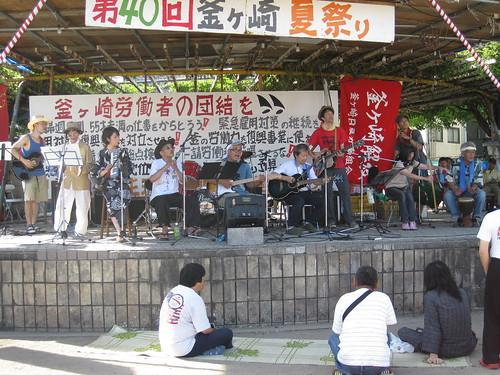 夏祭りでの釜凹バンド