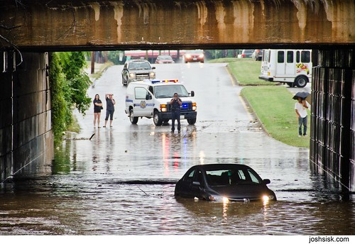 Car caught in flood on North Point Blvd.