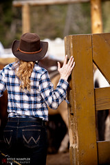 Wranglers (Steve Wampler Photography) Tags: park vacation horses horse woman canada girl hat fence rockies cowboy gate canadian jeans national blond alberta banff cowgirl wrangler