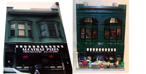 Alcatraz Pizza Photo and LEGO Version Side by Side