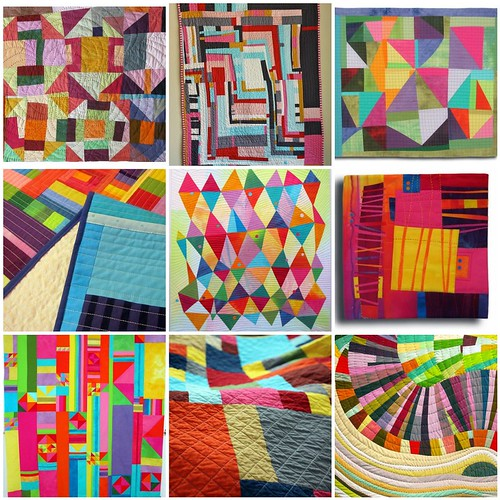 mosaic of solid improv quilts found on flickr