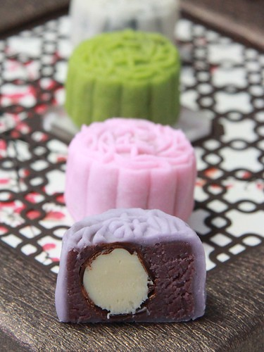 Mini Snow Skin Purple Sweet Potato and Amaretto Truffle Mooncake