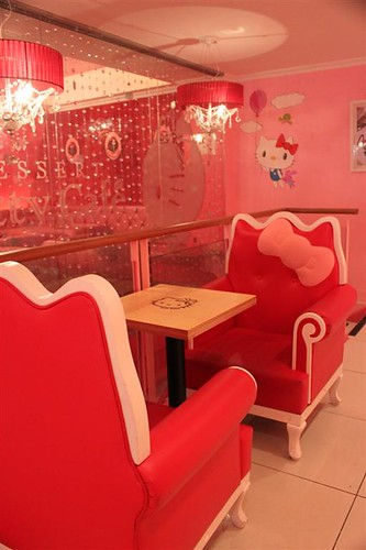 Hello Kitty Cafe seats in Seoul South Korea