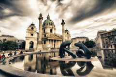 Karlskirche with art by Henry Moore (stst31415) Tags: vienna wien church cathedral magic kirche wideangle retro henry moore pro lantern hdr karlskirche efex 60d niksoftware