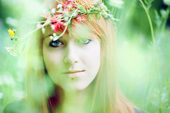 fairytale girl [Explore] (laura zalenga) Tags: light red sun flower green eye nature beautiful face field grass hair ana soft pretty close gaze laurazalenga