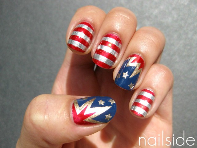 Toe Nail Art American Flag Nailarts Ideas