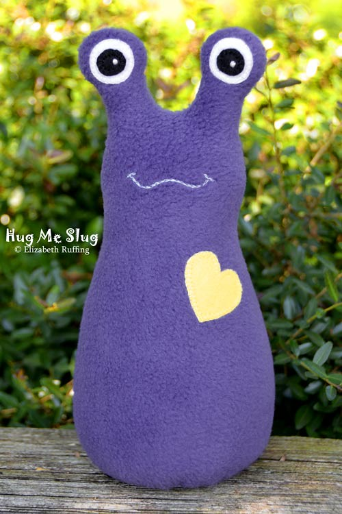Purple fleece Hug Me Slug by Elizabeth Ruffing
