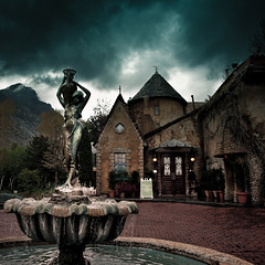Storm Over Chateau (Standard Deluxe) Tags: storm fountain clouds french restaurant cloudy dramatic explore chateau waterfountain littlecottonwoodcanyon 24105mm lacaille canonef24105mmf4lisusm