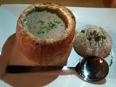Cream of Mushroom Soup in Sour Bread Bowl