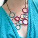 Macrame Hoop Bib Necklace - Plum