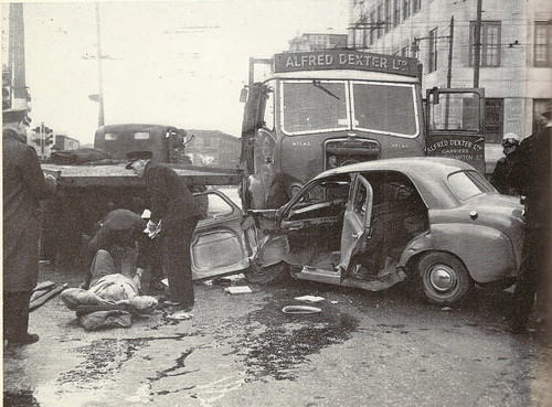 Traffic accident, London, c1955 by mikeyashworth