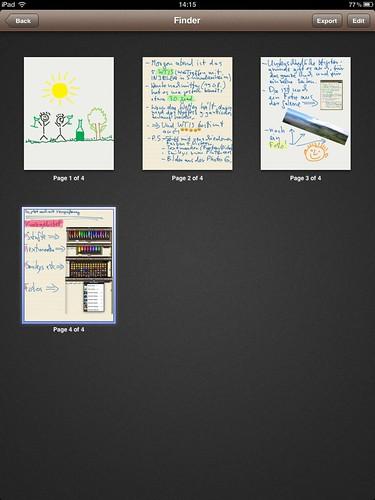 Noteshelf im Einsatz: Der Finder