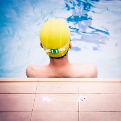 Swim Cap (richardhwc) Tags: guangzhou china 120 6x6 film swimming mediumformat holga kodak 60mm portra160 120gn