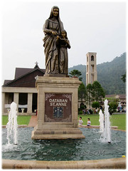 Dataran St. Anne, with a life-size sculpture of St Anne and her daughter, the blessed Virgin Mary at the sanctuary, Bukit Mertajam