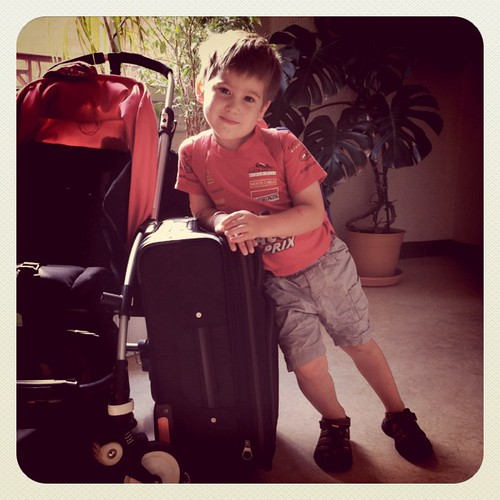 My big four year old is on his way to fly alone to see his gra